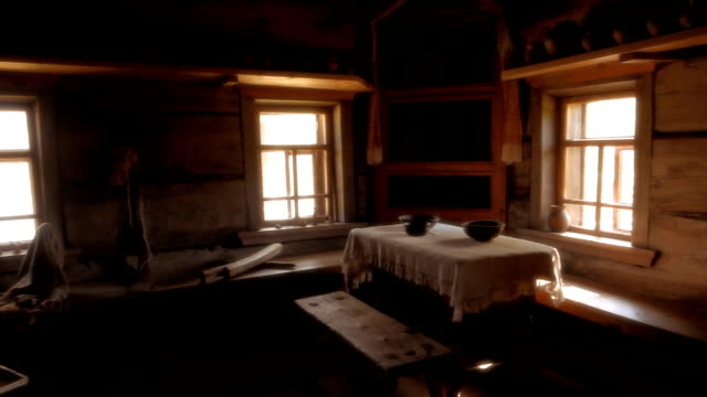 interior of old wooden house in russia - log cabin stock videos & royalty-free footage