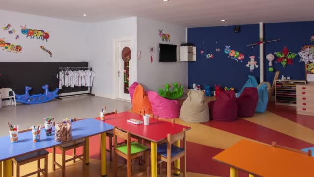 interior of preschool kindergarten - preschool stock videos & royalty-free footage