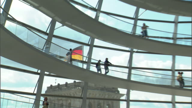 ms zo ws interior of reichstag dome / berlin, germany - the reichstag stock videos & royalty-free footage