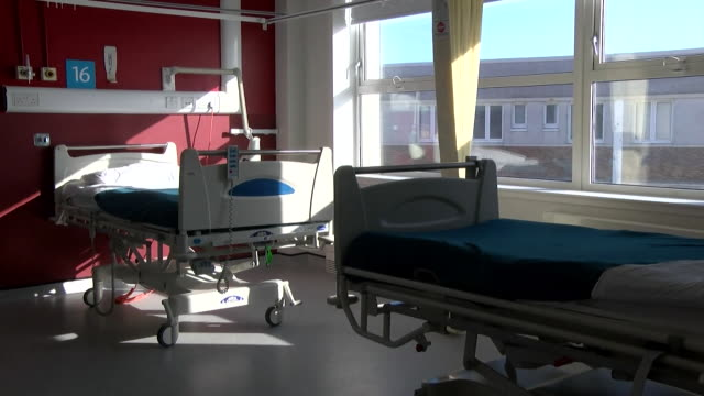 interior of shetland nhs hospital with empty beds during coronavirus pandemic - remote location stock videos & royalty-free footage