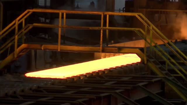 interior of steel being made in steelworks, port talbot - metal stock videos & royalty-free footage