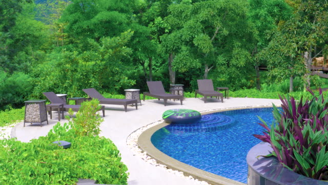 interior of swimming pool outdoor in forest background. - decking stock videos & royalty-free footage