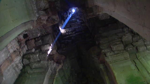 ms la interior of ta prohm temple, cambodia - circa 13th century stock videos and b-roll footage