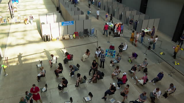 interior of tate modern art gallery, london, as it becomes a temporary covid-19 vaccination centre - central london stock videos & royalty-free footage