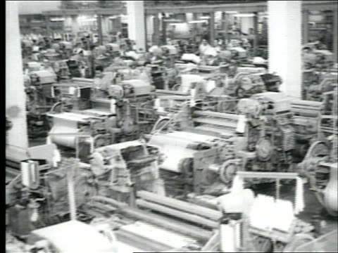 interior of textile factory machines looms workers manufacturing textiles 25th anniversary of textile company on september 20 1961 in peru - loom stock videos & royalty-free footage
