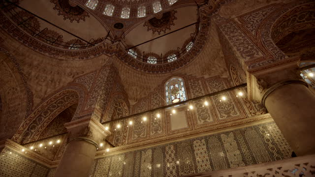 interior of the blue mosque, istanbul - metalwork stock videos & royalty-free footage