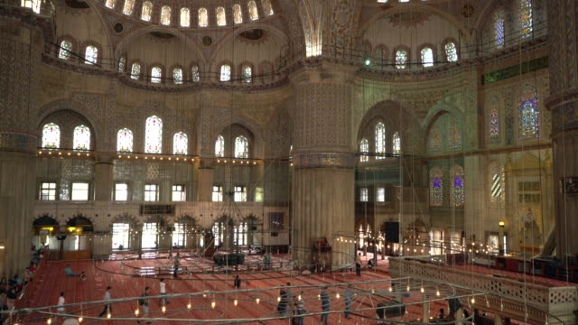 interior of the blue mosque, sultanahmet mosque istanbul, turkey. - blue mosque stock videos & royalty-free footage