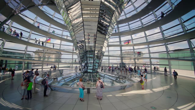 interior of the dome at the reichstag in berlin, germany - cupola video stock e b–roll
