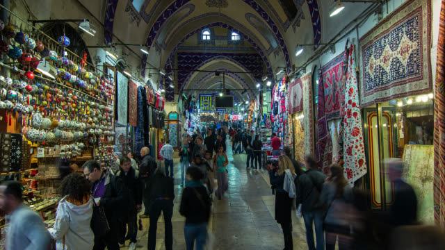 t/l zo interior of the grand bazaar in istanbul, turkey - grand bazaar istanbul stock videos & royalty-free footage