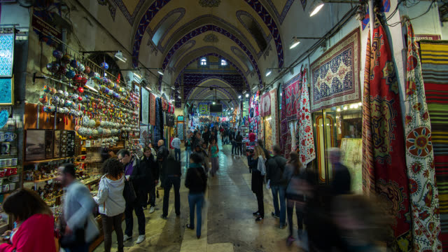t/l interior of the grand bazaar in istanbul, turkey - grand bazaar istanbul stock videos and b-roll footage