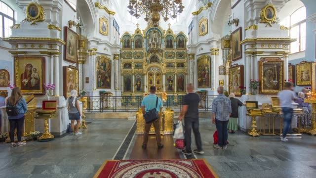 interior of the orthodox cathedral of the holy spirit, trinity district, minsk, belarus - time lapse - belarus stock videos & royalty-free footage