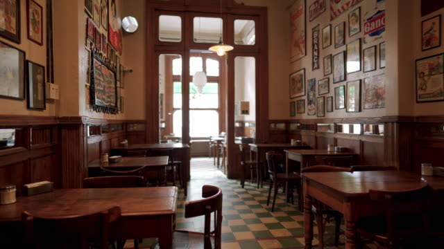 interior of traditional coffee shop in buenos aires - barren stock videos & royalty-free footage