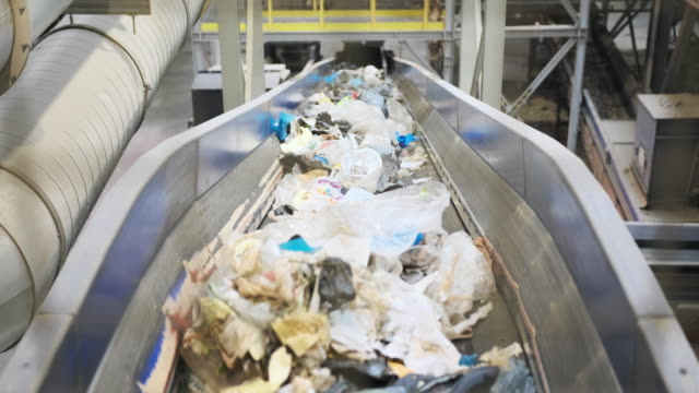 interior of waste management processing facility - efficiency stock videos & royalty-free footage