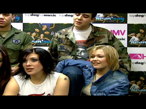 interior presser with hear'say band members danny foster noel sullivan myleene klass kym marsh suzanne shaw - 2001 stock videos & royalty-free footage