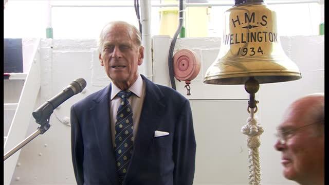 Interior Prince Philip Duke of Edinburgh making speech aboard HMS Wellington Prince Philip the Duke of Edinburgh Boards HMS Wellington on May 09 2013...
