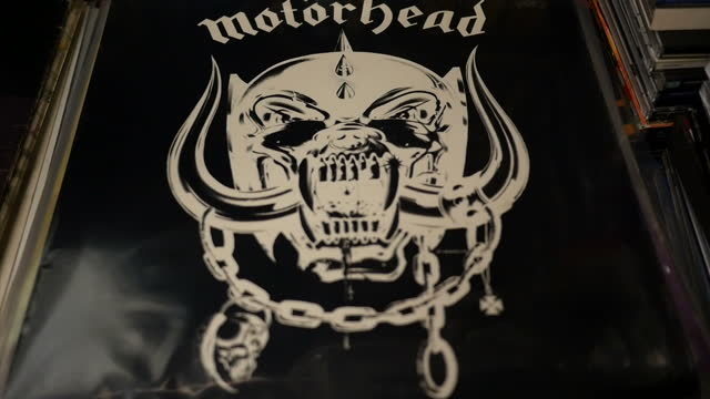 Interior shops of various Motorhead vinyl records on display in a record shop on December 29 2015 in Stoke on Trent England