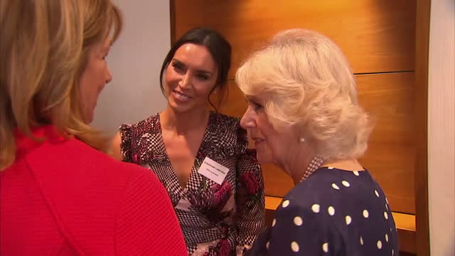 interior shot camilla, duchess of cambridge at the women of the year awards, meets christine lampard in london, england on monday 16th october 2017. - christine bleakley stock videos & royalty-free footage