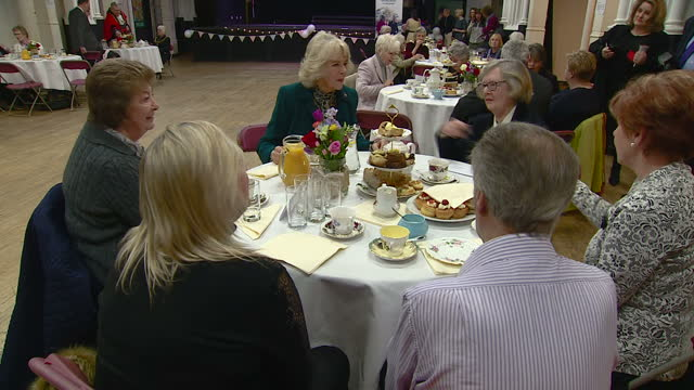 interior shot camilla duchess of cornwall meets and greets people at the royal volunteers service tea party talks to people at tables shots of... - afternoon tea stock videos & royalty-free footage