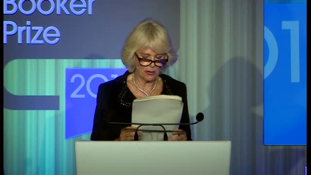interior shot camilla duchess of cornwall speaking at man booker prize awards commending the good work that the trust does towards literacy on... - booker prize stock-videos und b-roll-filmmaterial