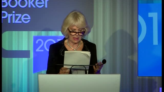 interior shot camilla duchess of cornwall welcomed to stage and begins speech on the importance of the man booker prize on october 14 2014 in london... - booker prize stock-videos und b-roll-filmmaterial