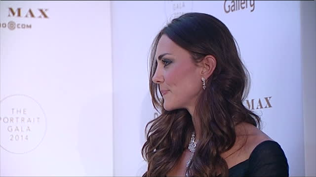 interior shot catherine duchess of cambridge at national portrait gallery gala evening wearing blue jenny packham gown and nizam of hyderabad... - evening gown stock videos & royalty-free footage