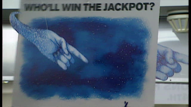 interior shot closeups of hanging national lottery sign with pointing hand on november 8 1994 in london england - lottery stock videos and b-roll footage