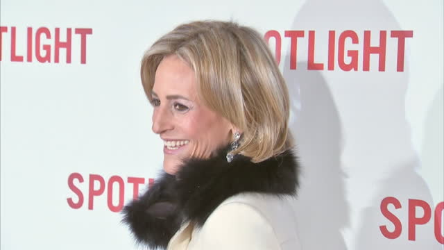 interior shot emily maitlis newsreader posing for photographers on spotlight premiere red carpet on january 20 2016 in london england - emily maitlis stock videos & royalty-free footage