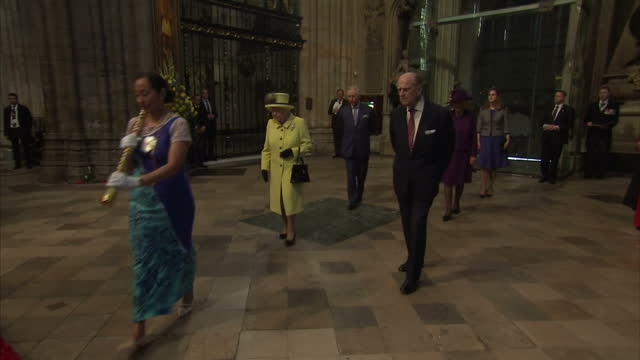 interior shot her majesty the queen and prince phillip duke of edinburgh join procession followed by prince charles prince of wales and camilla... - the queen stock videos and b-roll footage
