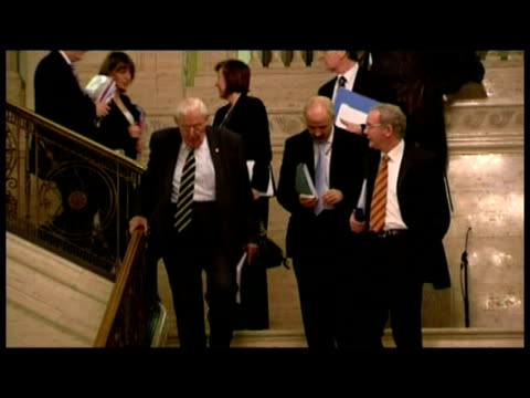 interior shot ian paisley retired first minister of northern ireland walk down stairs with colleagues - parliament building stock videos & royalty-free footage