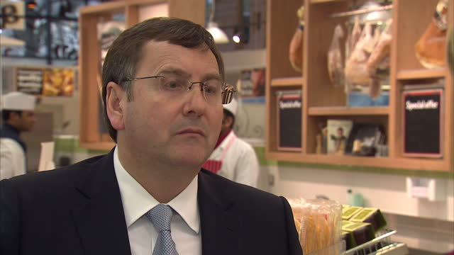 interior shot interview with philip clarke tesco chief executive talking about taking cameras into supply chain philip clarke on transparency in... - 馬肉点の映像素材/bロール