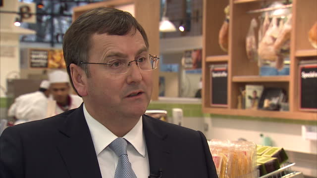 interior shot interview with philip clarke tesco chief executive talking about british meat producing all tesco meat in britain philip clarke on... - 馬肉点の映像素材/bロール