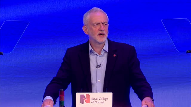 Interior shot Jeremy Corbyn Leader of the Labour Party exerpt from speech on Cyber Security re NHS attack in Liverpool England on Monday 15th May 2017