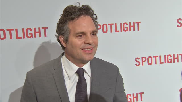 interior shot mark ruffalo actor on spotlight red carpet talking about the subject matter of the film and making sure they got it right and his... - mark ruffalo stock videos and b-roll footage