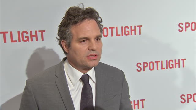 interior shot mark ruffalo actor on spotlight red carpet talking about the issue of no black actors/actresses being nominated for academy awards and... - mark ruffalo stock videos and b-roll footage