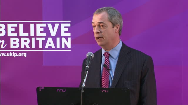 interior shot nigel farage giving ukip economic speech says economically ukip is pragmatic and is made up of people who have worked in the real world... - millstone stock videos & royalty-free footage