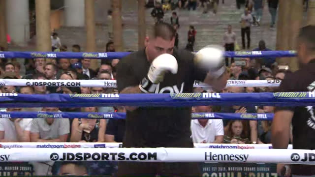 interior shot of andy ruiz jr public workout ahead of his heavyweight fight vs anthony joshua shot on 28 may 2019 new york united states - anthony joshua boxer stock videos & royalty-free footage