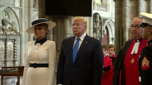 interior shot of choir singing after the us president donald trump and first lady melania trump lay a wreath at the grave of the unknown warrior at... - tomb of the unknown warrior westminster abbey stock videos & royalty-free footage