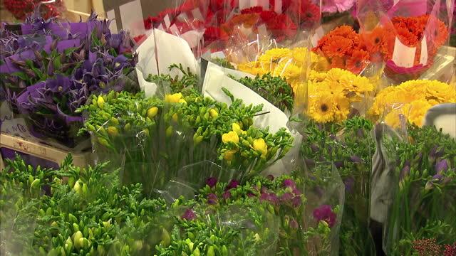 stockvideo's en b-roll-footage met interior shot of cut flowers for sale at new covent garden flower market>> on november 22 2014 in london england - for sale korte frase