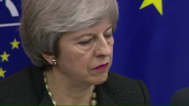 interior shot of european commission president jeanclaude juncker and british prime minister theresa may attend a news conference in strasbourg on 11... - theresa may stock videos & royalty-free footage