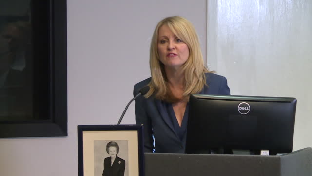 stockvideo's en b-roll-footage met interior shot of former work and pensions secretary esther mcvey launching her bid for the conservative party leadership in london on 10th june 2019... - bod
