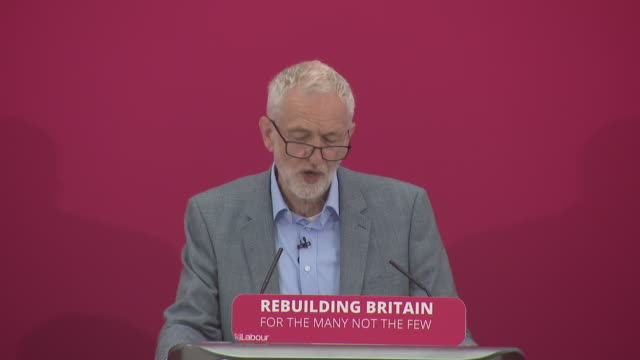 interior shot of labour leader jeremy corbyn mp delivering a speech on inequality and social justice in birmingham on 8th june 2019 united kingdom - jeremy corbyn stock videos and b-roll footage