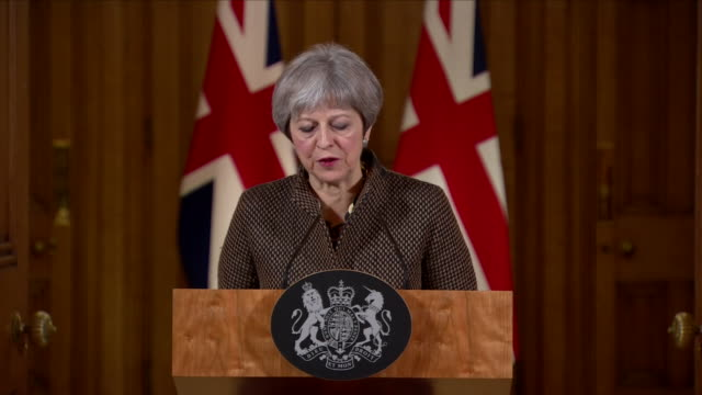 interior shot of presser theresa may, prime minister talking about the uk stand against the use of chemical weapons around the world on april 14,... - chemical stock videos & royalty-free footage