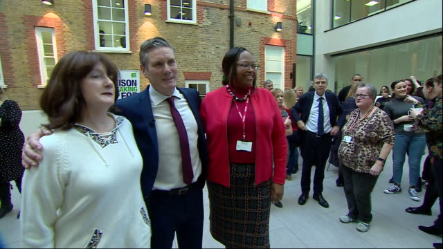 interior shot of sir keir starmer meeting unison workers at their headquarters following the announcement that the union has decided to back him as... - keir starmer stock videos & royalty-free footage