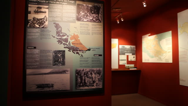 interior shot of the exhibition of the yamana museum in ushuaia in tierra del fuego archipelago in argentina about the history of the area and... - argentinian culture stock videos & royalty-free footage