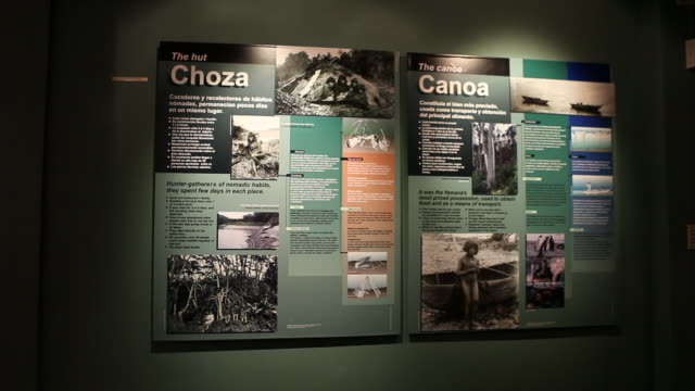 interior shot of the exhibition of the yamana museum in ushuaia in tierra del fuego archipelago in argentina about the history of the area and... - 野生生物保護点の映像素材/bロール