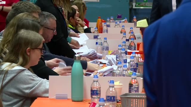 interior shot of volunteers counting ballot slips in local elections in swindon on 2nd may 2019 united kingdom - voting ballot stock videos & royalty-free footage
