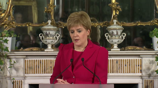 interior shot presser speech by nicola sturgeon first minister of scotland speaking about prime minister theresa may brexit triggering article 50 and... - article stock videos & royalty-free footage