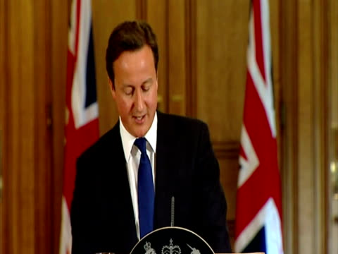interior shot prime minister david cameron speaks to the media at in number 10 downing street on rebekah brooks during a press conference on phone... - conference phone stock videos & royalty-free footage