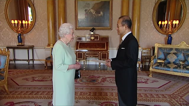 Interior shot Queen Elizabeth II meets with South Korean Ambassador Sungnam Lim inside Buckingham Palace Queen Elizabeth II meets with South Korean...