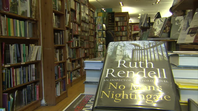 interior shot ruth rendell books on shelf in book shop on january 02 2014 in ely england - kindle stock videos & royalty-free footage